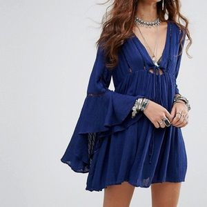Free people Romeo bell sleeve mini dress navy S